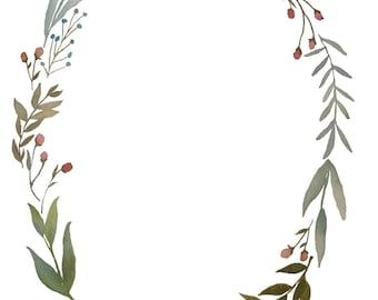 Watercolor Natural Wreath Download - blues, greens, peachy pinks