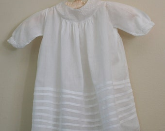 Lovely Vintage Hand-made Baby Dress of Sheer Very-Fine Cotton or Batiste
