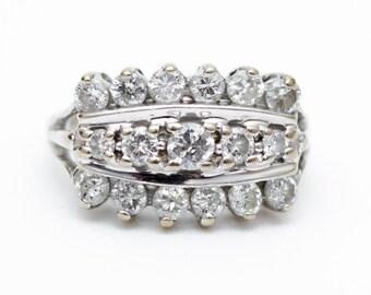 Vintage Diamond Ring, Estate Diamond Ring, Diamond Dinner Ring, Diamond Anniversary Ring, Diamond White Gold Ring, Multistone Ring