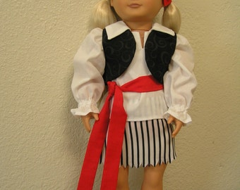 OOAK Pirate Costume for American Girl or Other 18 inch Dolls