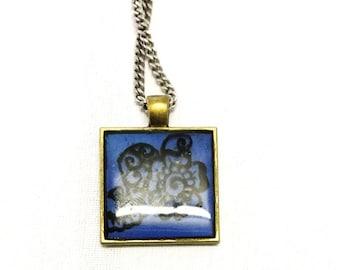 Square Blue Pendant With Design