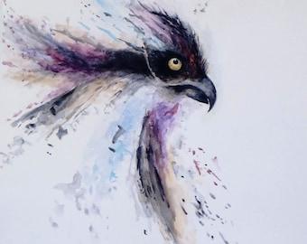 Raven Watercolour Painting