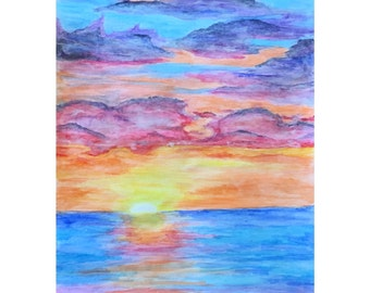 Abstract Watercolour Sunset Painting