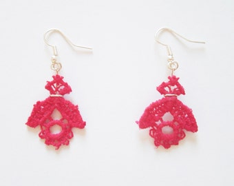 Earrings colorful lace, flowers in the colors of spring