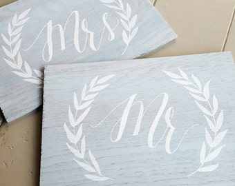 Mr and Mrs Wood Sign   Chair Signs   Wedding Sign   Wood Sign   Wedding Decor   Calligraphy