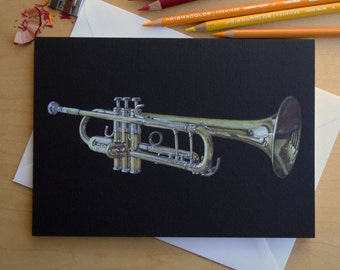 Yamaha YTR 6335H Trumpet pencil crayon greetings card, illustrated by Steve Barker. Designed and printed in the UK