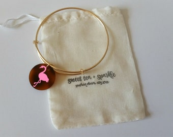 Pink Sparkle Flamingo Acrylic Charm Bangle//Adjustable Wire Bangle//Stackable Bangle//Acrylic Disc