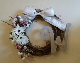 Floral Monogram Grapevine Wreath