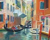 Venice Painting Italy Painting Giclee Print Fine Art Print Original Art Realist Art Australian Art, VENICE TRAFFIC JAM