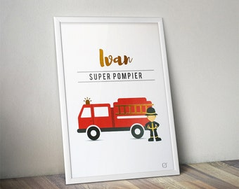 Displays Super firefighter in gilding & name in gilding - customizable - gilding - colour-decorating - child - room