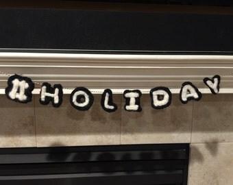Hashtag Holiday hand needle felted banner