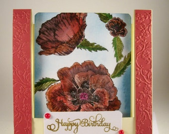 HAPPY BIRTHDAY CARD, Pretty Birthday Card, Hand Painted, Inverted Step Style Card, Red Poppies, Birthday Greetings, Thinking of You