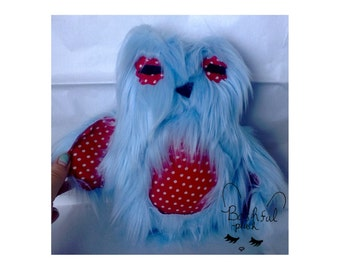 Fuzzy Owl (Blue with Polka Dot print)