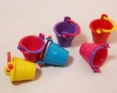 1 Miniature Plastic Sand Bucket, Fairy Garden Miniatures, Beach Scene, Beach Decor, Dollhouse Miniatures, Miniature Landscapes