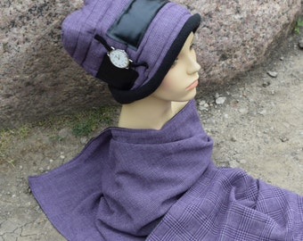 Italian wool hat with shawl