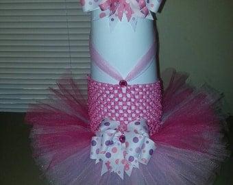 Pink, lavender, fushia baby girl tutu dress with matching hairbow