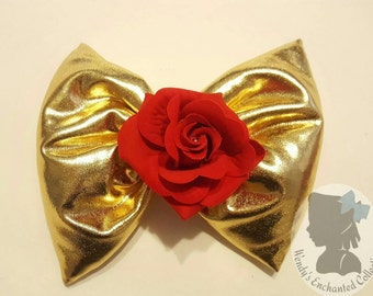 Beauty and the Beast Bow, Beauty, Beast, Belle, Be Our Guest, Disney, Princess Bell, Rose, Big Bow, Bow