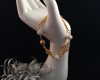 Golden White and Glass Bead Bracelet