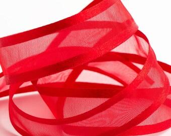 Full 25m Reel Satin Edge Organza Ribbon Ribbon 10mm, 15mm, 25mm, 38mm - Red