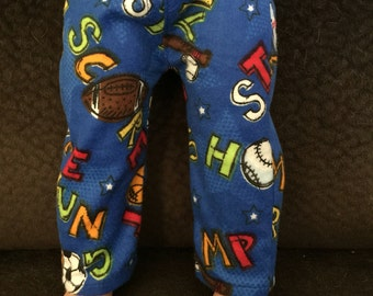 Pajama or Lounge Pants for American Boy or Other 18 Inch Dolls, Handmade of Cotton Flannel, Sports Print