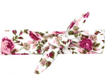 Pink Rose Floral Print Top Knot Headband