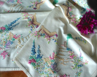 """Beautiful Hand Embroidered """"Cottage Gardens"""" Vintage Linen Tablecloth"""