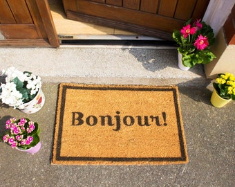 Bonjour Francais French Doormat - Made in the UK