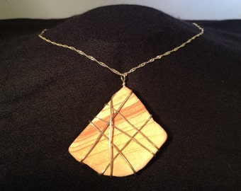 Wire Wrapped Sand Stone Necklace (free shipping)