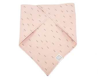 Dog Bandana-Charcoal Triangles on Peach Pink