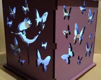 Led night light flutterby fairies lantern/box