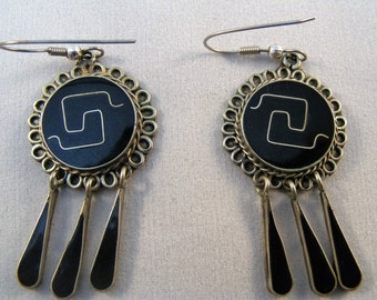 Black enamel and silver vintage Alpaca dangle earrings