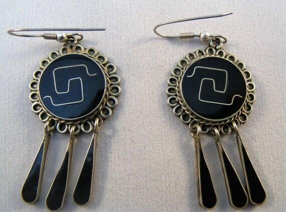 Black enamel and silver vintage Alpaca dangle earrings