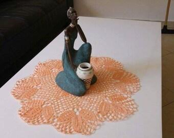 Round doily, Peach doily, floral doily, crochet table cloth, crochet doily, leaves doily