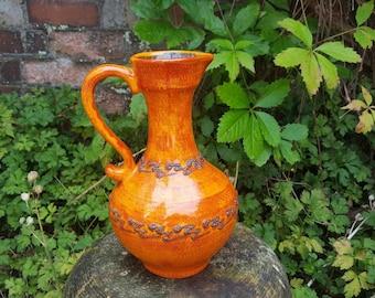 Vintage West German Fat Lava Vase by Walter Gerhards no.285-25 in Orange