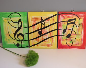 Musical notes dancing painting on FLAT canvas in acrylic paint
