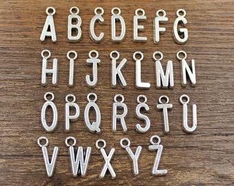26pcs Alphabet Letter Charm Antique Silver Tone - SH61
