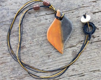 Raku necklace terra sigillata