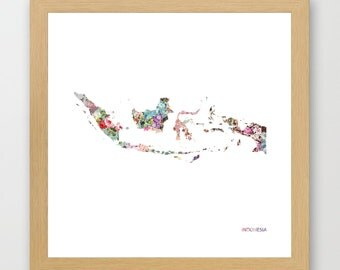 INDONESIA MAP, flowers composition, roses, Giclee Fine Art, Poster Print