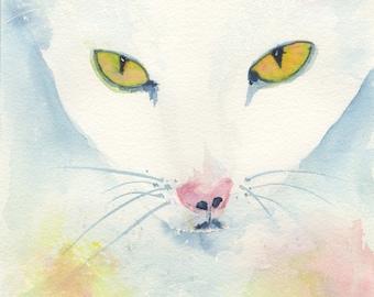 Cat Art Print of Original Watercolor Painting (Cabela) 8.5x11
