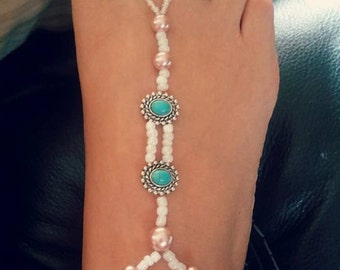Teal and pearl barefoot sandals
