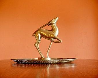 Large Brass Gazelle Antelope Statue, Trophy Award, Mid Century Hollywood Regency Decor