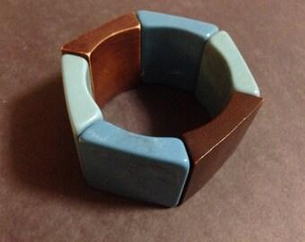 Vintage 1970s Mod Aqua Blue and Chocolate Brown Square Bracelet