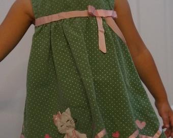 70's Corduroy Ballet Kitty 2T dress