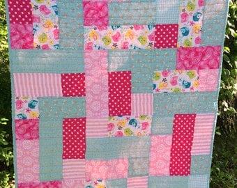 Baby Girl Crib Quilt Aqua Blue Pink Birds