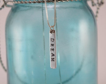 """Hand-Stamped """"Dream"""" Pendant Necklace"""