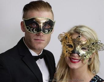 Couple Masquerade Ball Mask Set Metallic Black Gold Venetian Style Mask