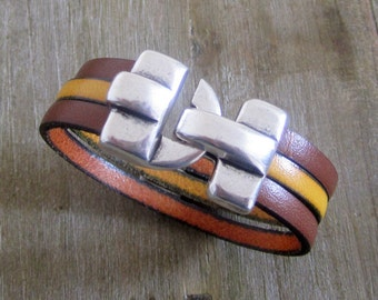 Man leather Camel/yellow mustard, silver clasp bracelet