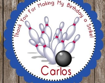 Bowling Stickers   Bowling Birthday Favor Stickers