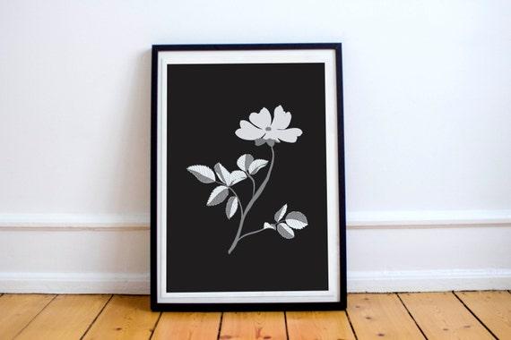 Modern Botanical Rosa Canina on black A4 Print - Monochrome chic