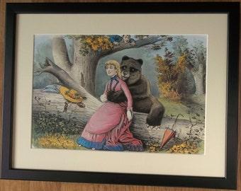 Mounted and framed Bear Hug print, 12''x16'' framed, Hug me closer George